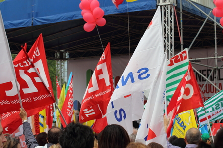 manifestation: Milan Italy 05 may 2015 Trade union demostration Manifestation of public school employees who demonstration against the governement