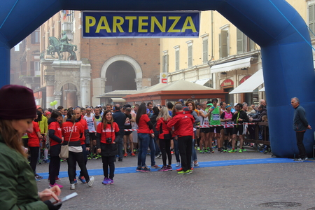 two person only: Ferrara, Italy - 20 march 2016 - INTERNATIONAL FERRARA MARATHON - The event sees the participation, only in the two competitive races (Marathon and Half Marathon) to almost 2,000 athletes, on average they are accompanied by at least one person.