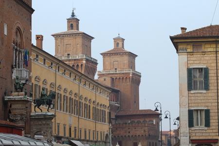 castello: View of Castello Estense in Ferrara, Italy