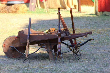 medieval wooden crossbow in exibition