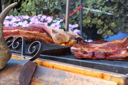 pork ribs tucked on a spit and cooked on hot coals Banco de Imagens