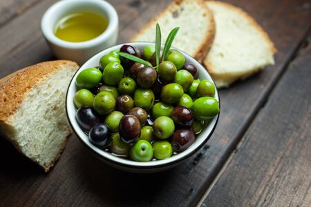 vitamines: olive oil and bread Stock Photo