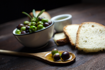 alimentation: olive oil and bread Stock Photo