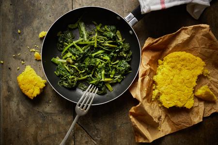 green vegetables: turnip greens recipe Stock Photo