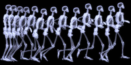 radiogram: 3D rendering illustration,sequenced radiography of a human skelegon running