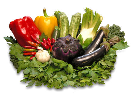 vegtables: Colorful fresh group Of vegetables on white background