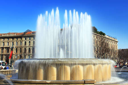 big fountain in centre of milan photo