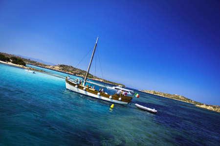 sailingboat: Beautiful sailboat in the blue sea Stock Photo
