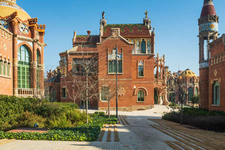 Side view of the Central Pavilion of the former Sant Pau Hospital.The whole complex is characterized by its great ornamental richness with the presence of bricks, majolica, glazed tiles, stained glass and mosaics. Some structures have been converted into Editorial