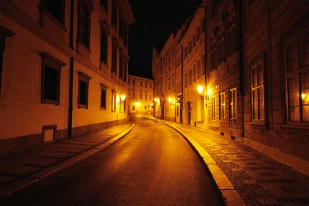 Lonely street in Prague Stok Fotoğraf