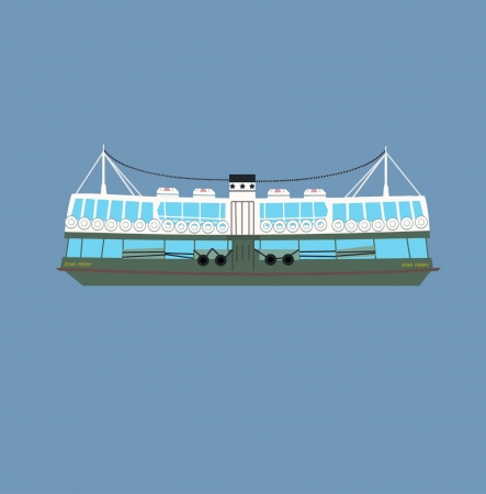 ferry boat: Vector illustration of Hong Kong Starry Ferry
