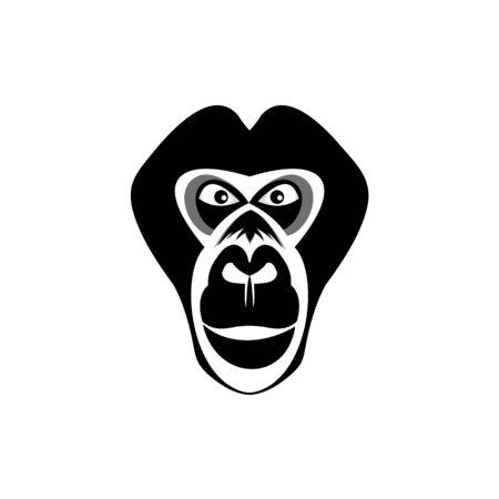 gorilla vector logo, on background white