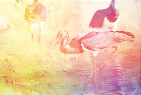 Colorful background with flamingos