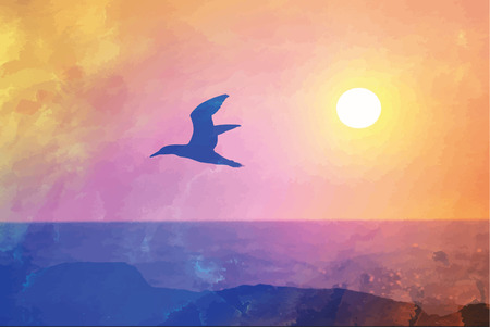 Bird in flight on sunset background Illustration