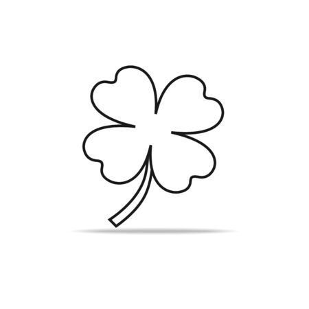 Green Shamrock leaf line icon isolated on white background. You can shamrock leave use design your website, banner or mobile and Celebration Irish Holiday.
