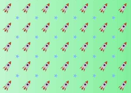 Abstract kid science pattern science pattern with spacecraft and star design vector background. Concept via spacecraft icon suitable for background, wallpaper, website and room kids. 向量圖像