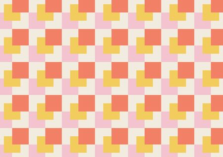Abstract geo square pattern colorful background. Concept use square pattern design pink, orange, yellow and cream background. Иллюстрация