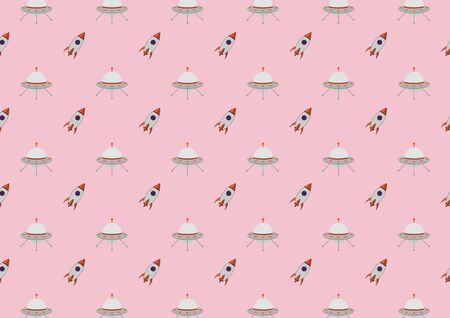 Abstract kid science pattern science pattern with spacecraft design vector background. Concept via spacecraft icon suitable for background, wallpaper, website and room kids.