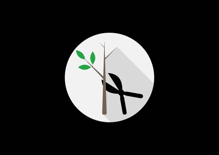 Tree pruning icons vector silhouette on a light background in a round frame. Pruning icon from agriculture farming and gardening collection
