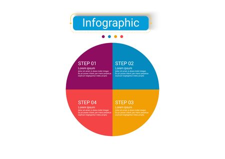 The vector design business infographics use concepts creative circle template infographics with 4 options. It can be used for layout, workflows, diagrams, business process options, banners, web design