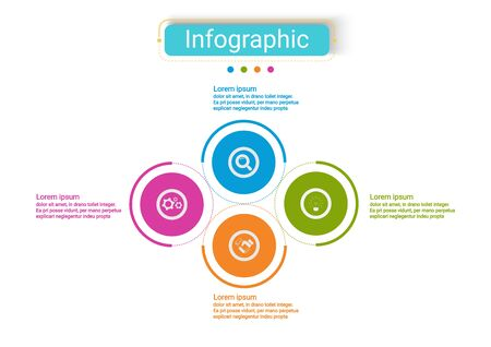 The vector design business infographic uses concepts creative circle template infographic with 4 options. It can be used for layout, workflows, diagrams, business process options, banners, web design.
