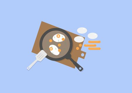 The vector illustration of fried eggs, vegetables and sausage on the frying pan. the sausage cut into pieces, eggs, and sausage placed beside the pan, spatula placed on edge pan. Top view from above.