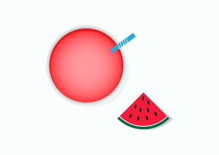 The vector illustration of fresh watermelon juice top views has a blue suction tube, white pattern placed on the glass. And watermelon cut into pieces placed beside a glass. Top view from above. Vectores