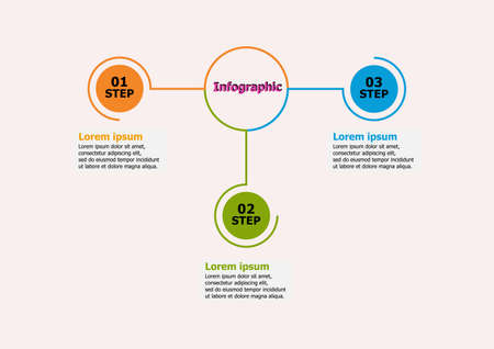 Infographic vector design template for illustration. Presentation business infographic template with 3 options. Creative concept for infographics. layout, diagram, business step options, web banner. 일러스트