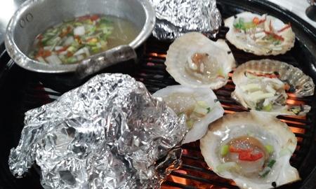 broil: Roasted shellfish Stock Photo