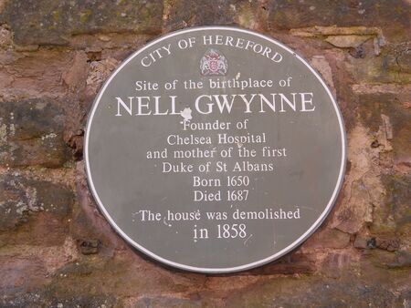 plaque: Nell Gwynne plaque, Hereford, England Stock Photo
