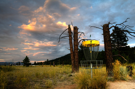 disc golf: Disc golf basket on a course in Kamloops, BC, Canada