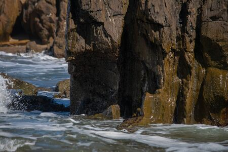 Sea water, rocks and their action
