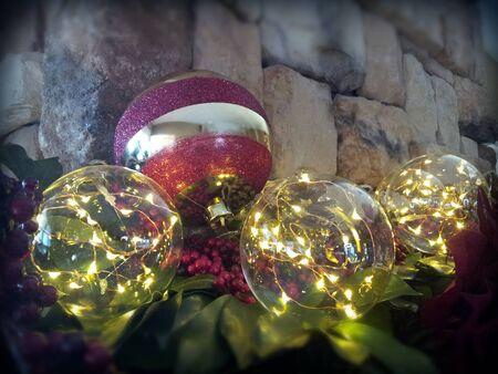 Christmas ball on mantle Banco de Imagens