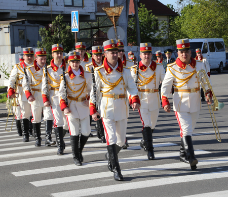 Moldavian soldiers in cerimonial dress arrive  at Chisinau war memorial on the 9th of May Editorial