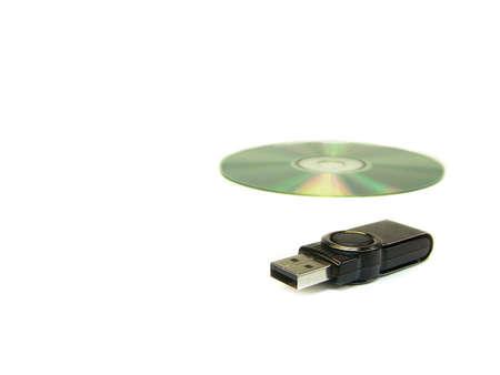 usb memory versus a CD Banco de Imagens