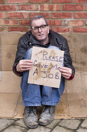 homeless person: Homeless and Jobless man Stock Photo