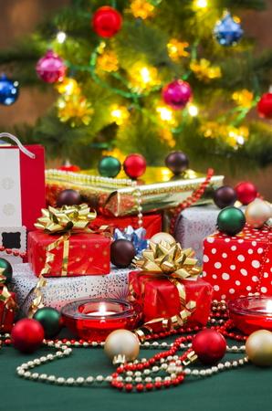 christian festival: Christmas Gifts and Christmas Tree