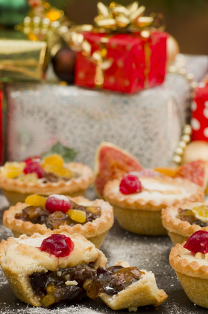 Christmas Mince Pies and Gifts Stock Photo