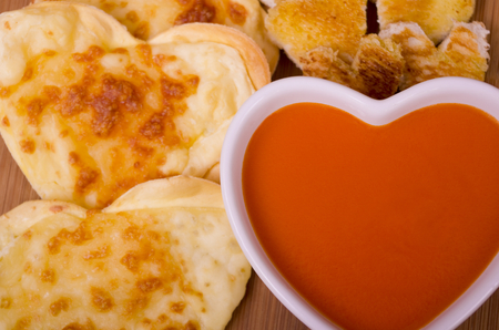 croutons: Valentines Seving ofTomato Soup Cheese Biscuits and Croutons