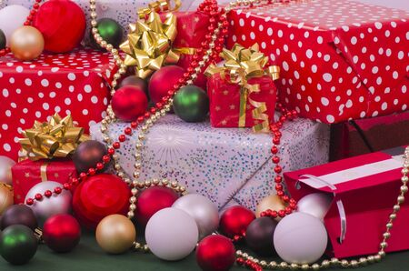 christian festival: Selection of Christmas Presents and Gifts Stock Photo