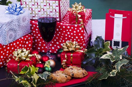 Christmas Cookies Wine and Presents photo