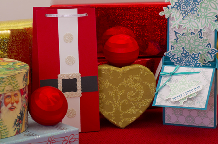 christian festival: Selection of wrapped christmas gifts and decorations