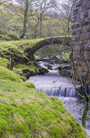 old packhorse bridge: Fell End Gill with old Packhorse bridge under Denthead Viaduct. North Yorkshire