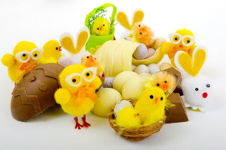 christian festival: A selection of Easter Eggs, Chick  and Easter Bunnies with deluxe homemade chocolates.