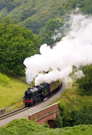 br: Yorkshire Coast Express, Heritage railway on the North York Moors, British Railways 61002 Impala in full steam. Editorial