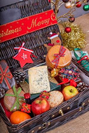 Wicker Hamper loaded with Christmas Treats and Fruits