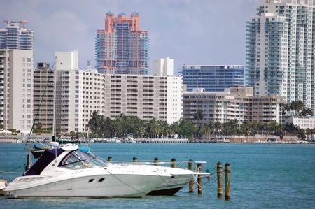 beach cruiser: Cabin Cruiser with South Miami Beach condos in the background