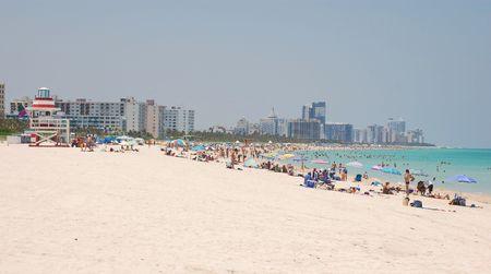 vacationers: Panoramic View of the Beach at Miami Beach Stock Photo