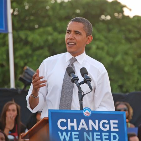 presidents': Barack Obama speaking to a crowd of more than thirty thousand people at a rallly in Bayfront Park in Miami,Florida on October 22,2008campai Editorial