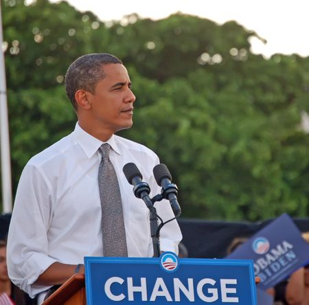 Barack Obama speaking to a crowd of over thirty thousand people at a rally in Bayfront Park,Miami,Florida on 22 October 2008